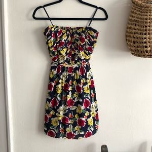 Floral Navy Minidress with Keyhole Back
